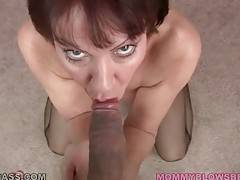 Slutty Breasted Lady Slurps Thick Cock 3