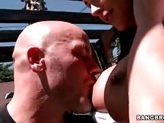 Stunning brunette milf hungrily slurps partner`s boner.